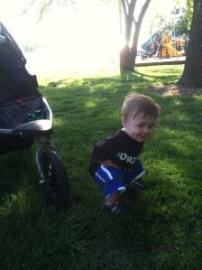 Jackson demonstrating proper squat form.